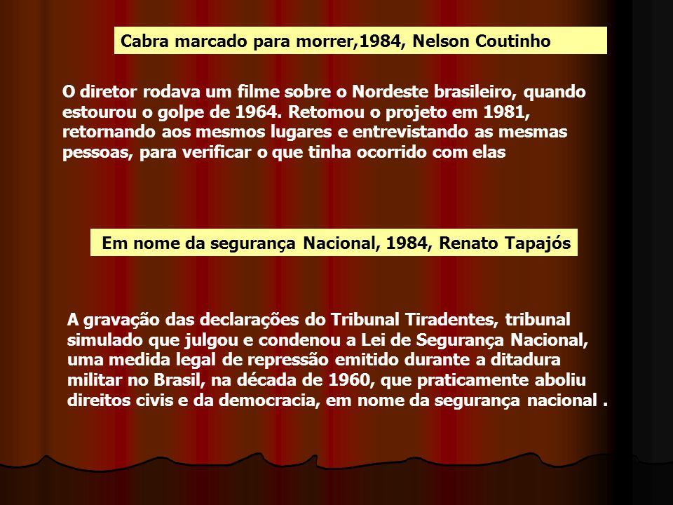 Cabra marcado para morrer,1984, Nelson Coutinho
