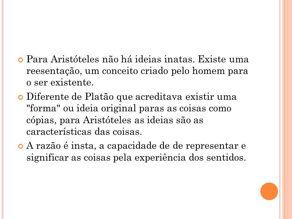 Para Aristóteles não há ideias inatas