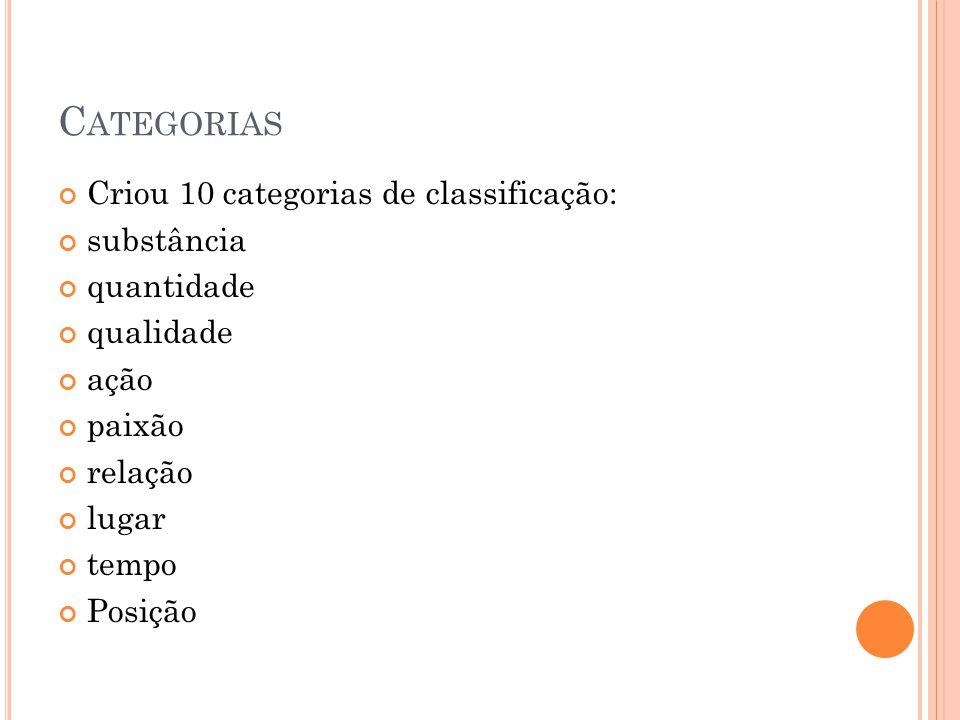 Categorias Criou 10 categorias de classificação: substância