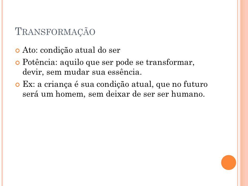 Transformação Ato: condição atual do ser