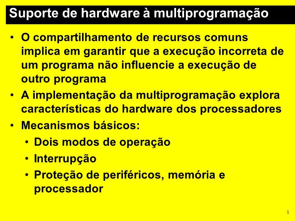 Suporte de hardware à multiprogramação