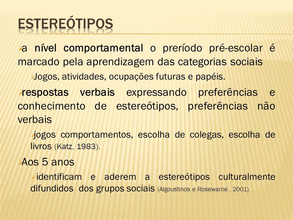 Estereótipos a nível comportamental o preríodo pré-escolar é marcado pela aprendizagem das categorias sociais.