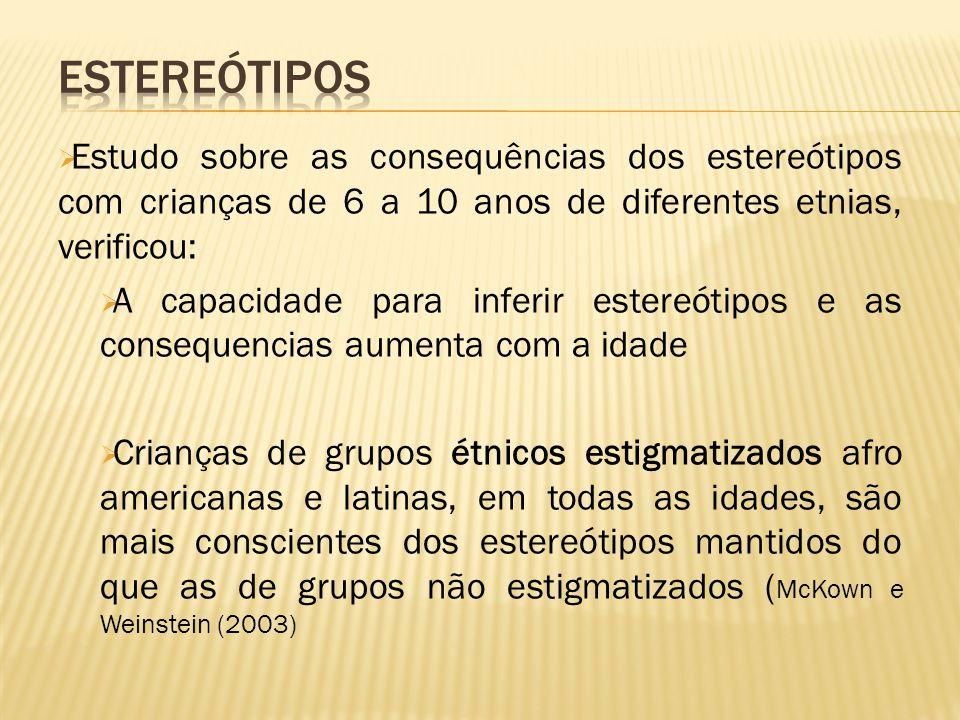 Estereótipos Estudo sobre as consequências dos estereótipos com crianças de 6 a 10 anos de diferentes etnias, verificou:
