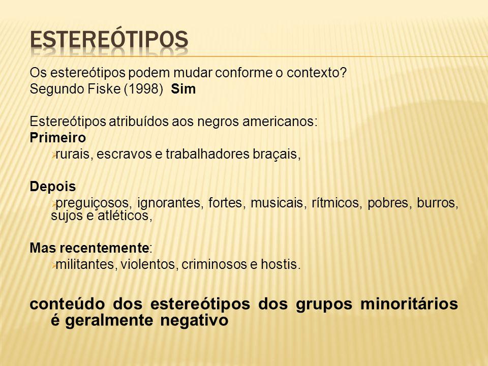 Estereótipos Os estereótipos podem mudar conforme o contexto Segundo Fiske (1998) Sim. Estereótipos atribuídos aos negros americanos:
