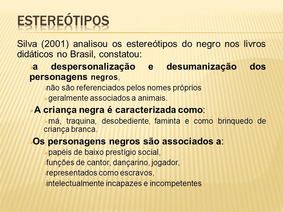 Estereótipos Silva (2001) analisou os estereótipos do negro nos livros didáticos no Brasil, constatou: