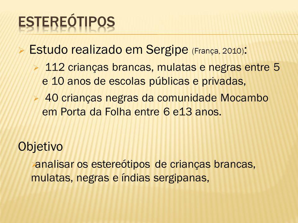 Estereótipos Estudo realizado em Sergipe (França, 2010): Objetivo
