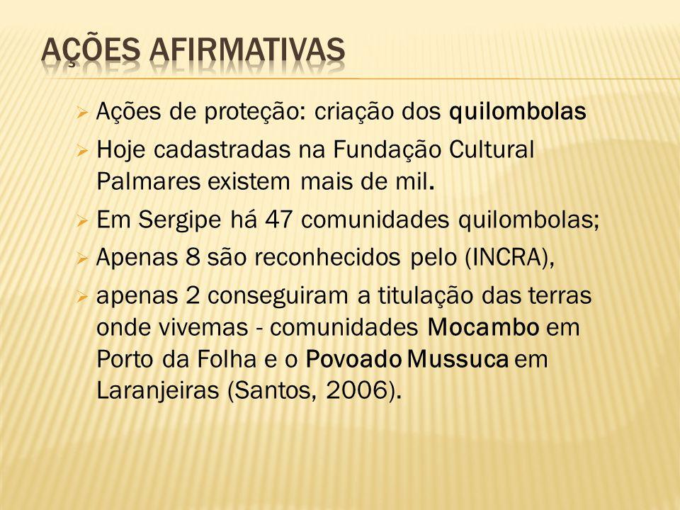 Ações afirmativas Ações de proteção: criação dos quilombolas