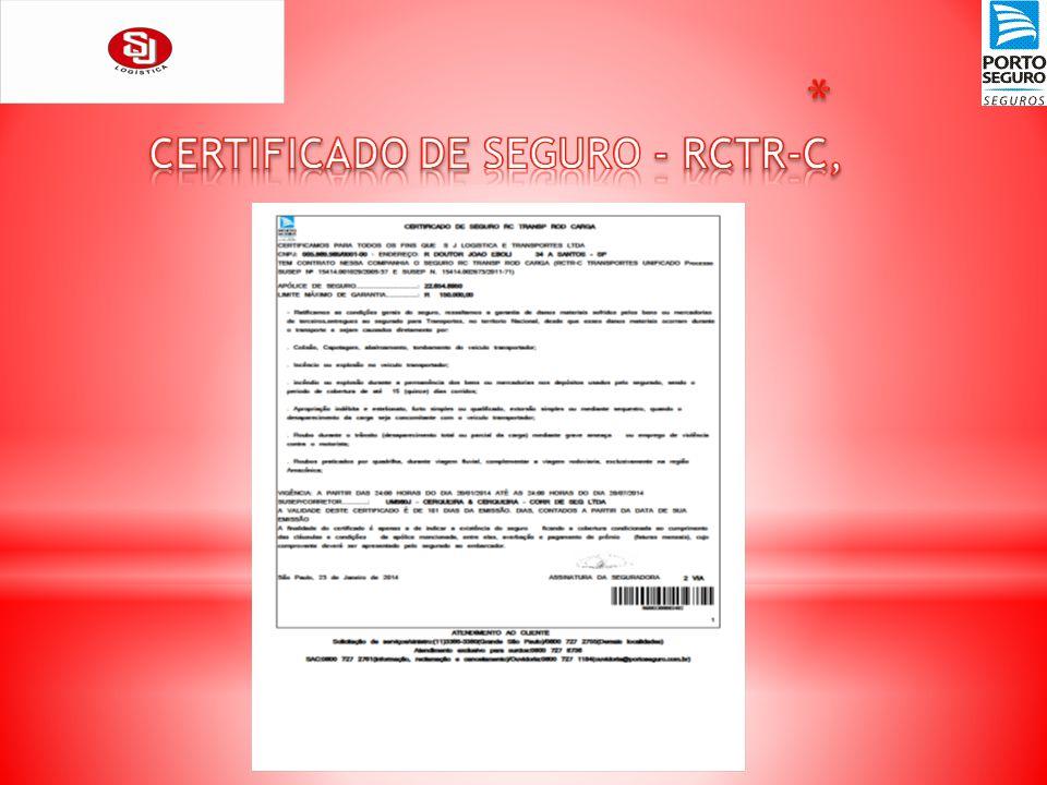 CERTIFICADO DE SEGURO - RCTR-C,
