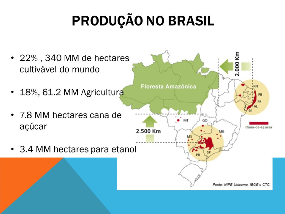Produção no brasil 22% , 340 MM de hectares cultivável do mundo