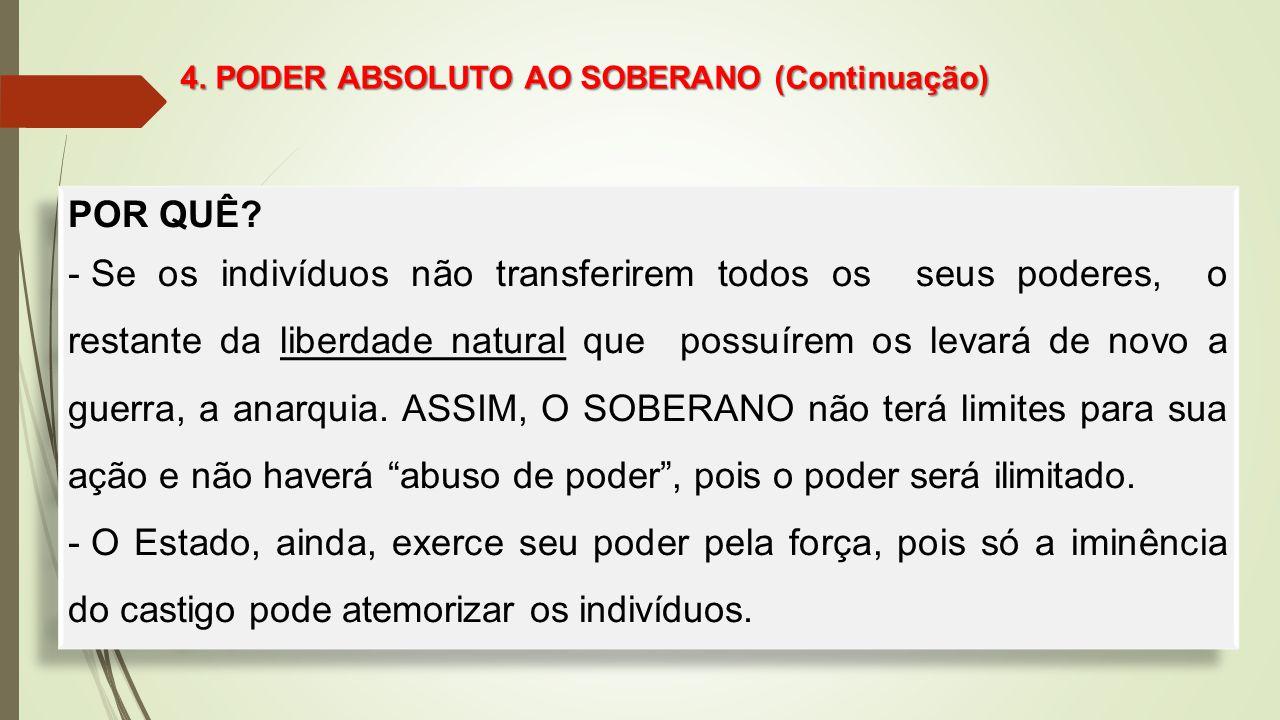 4. PODER ABSOLUTO AO SOBERANO (Continuação)