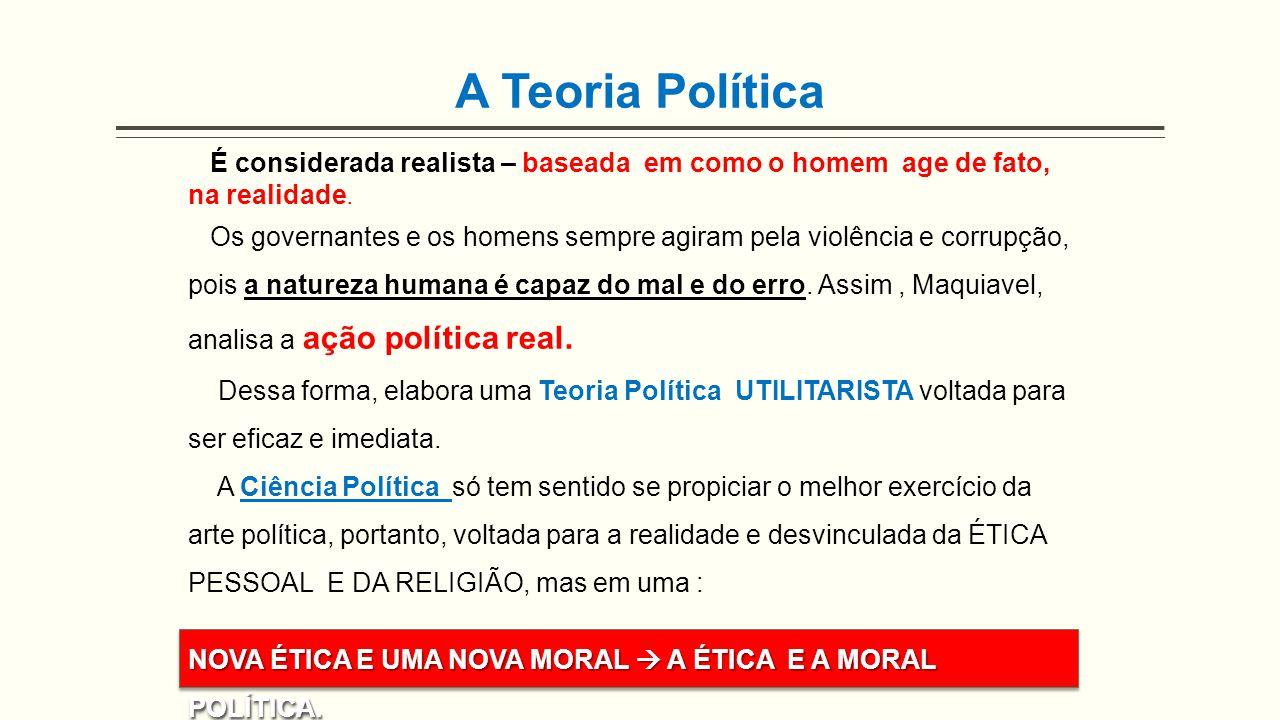 A Teoria Política É considerada realista – baseada em como o homem age de fato, na realidade.