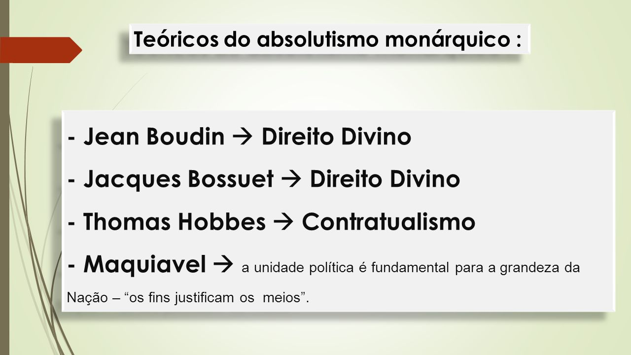 Teóricos do absolutismo monárquico :