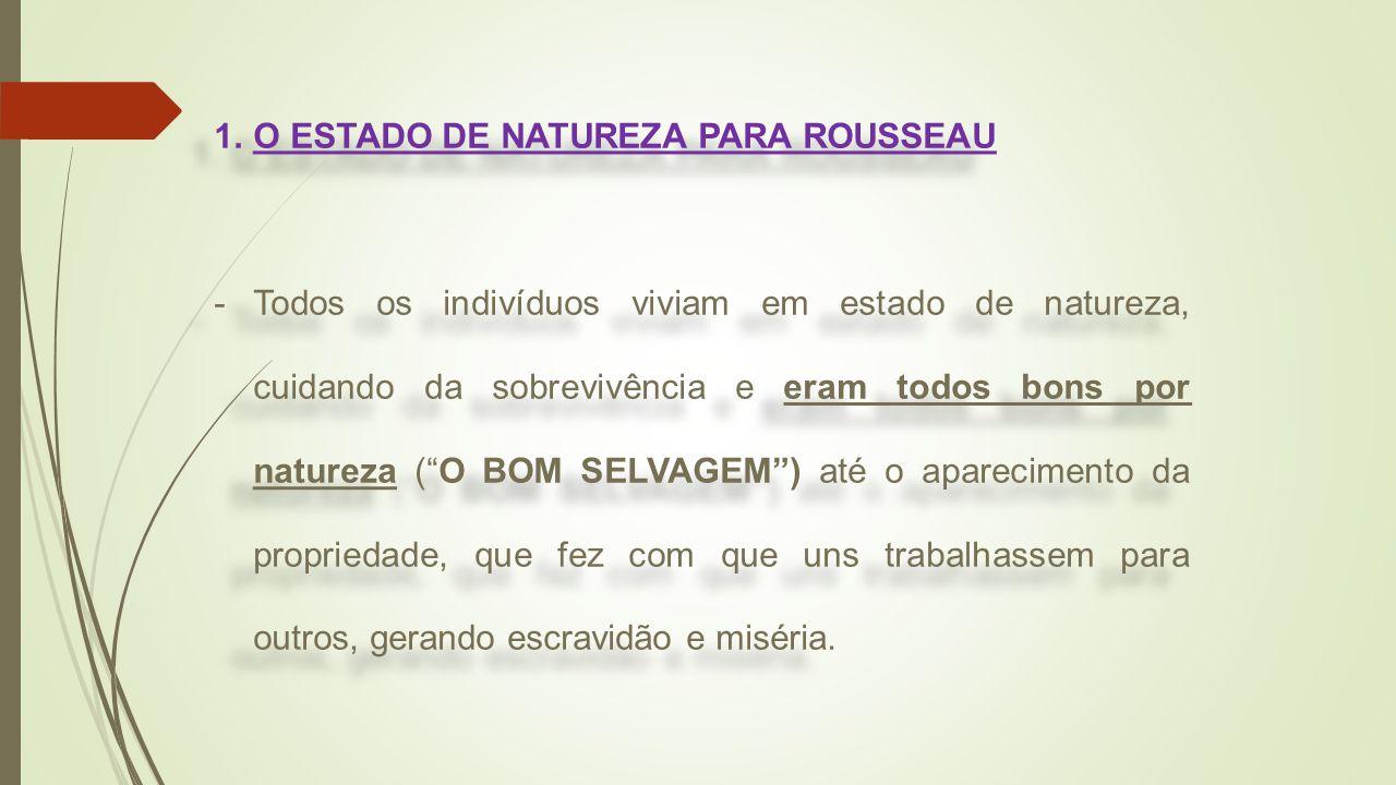 O ESTADO DE NATUREZA PARA ROUSSEAU