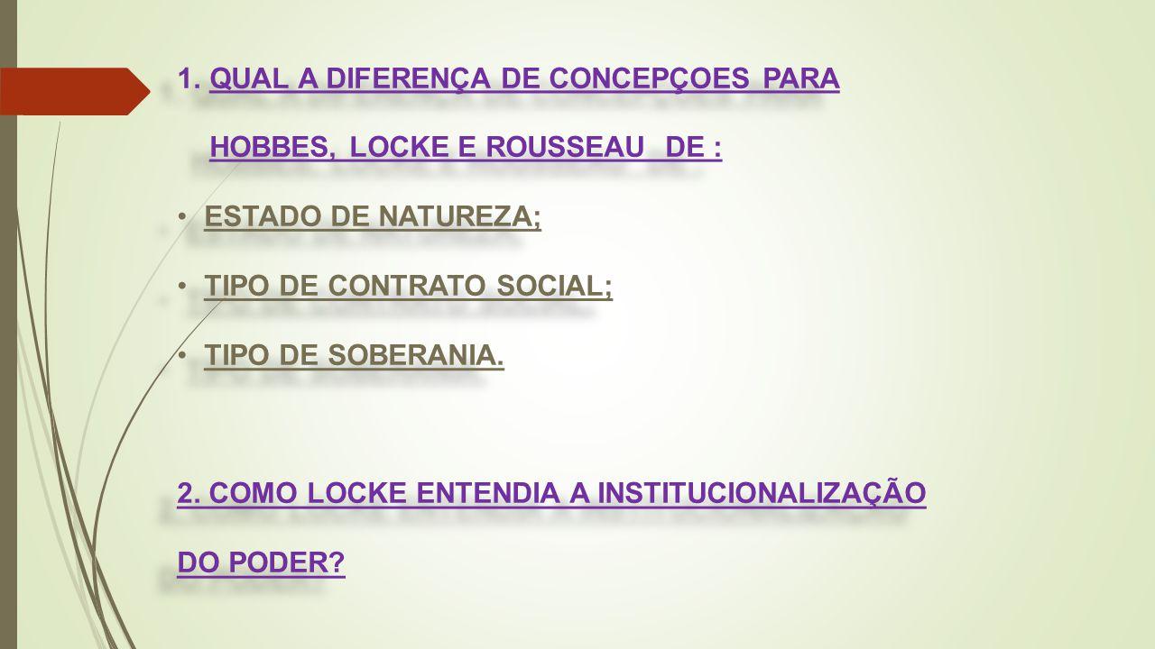 QUAL A DIFERENÇA DE CONCEPÇOES PARA HOBBES, LOCKE E ROUSSEAU DE :