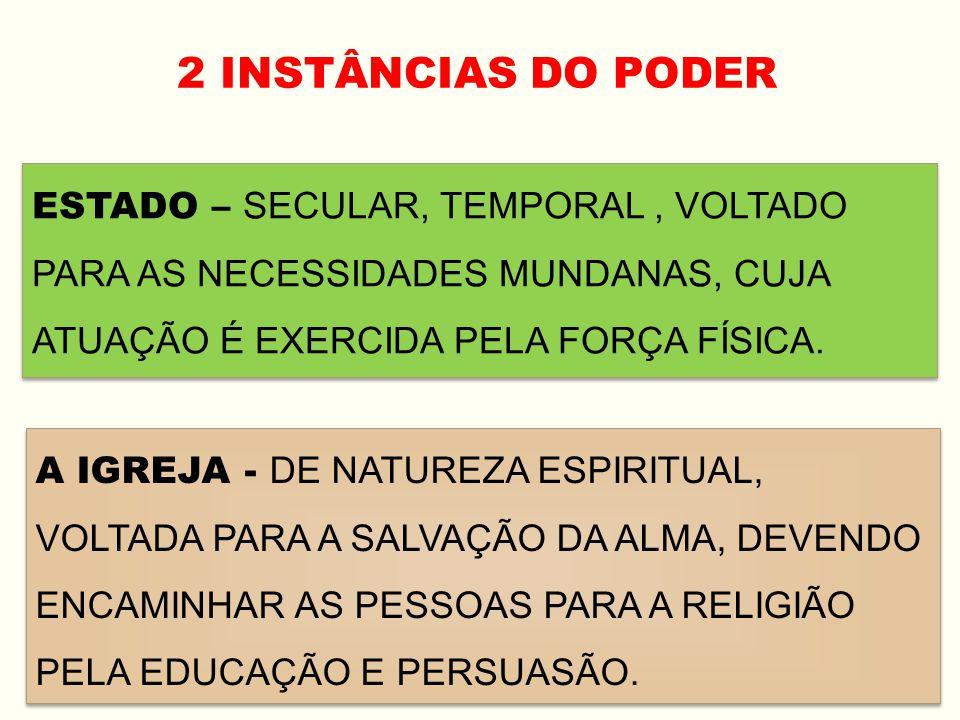 2 INSTÂNCIAS DO PODER ESTADO – SECULAR, TEMPORAL , VOLTADO PARA AS NECESSIDADES MUNDANAS, CUJA ATUAÇÃO É EXERCIDA PELA FORÇA FÍSICA.