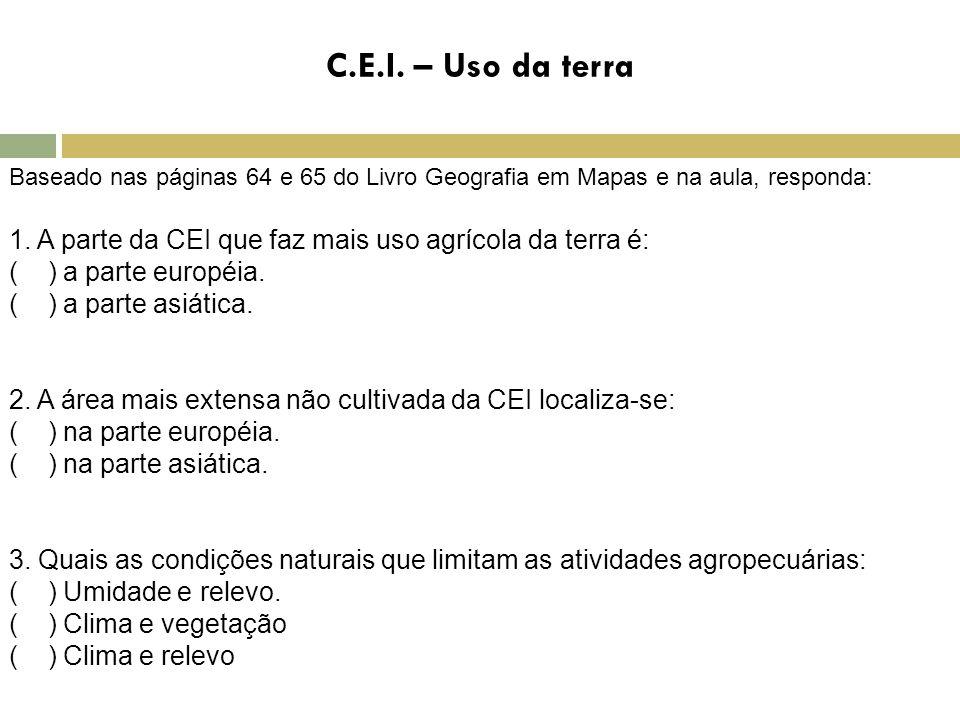 C.E.I. – Uso da terra Baseado nas páginas 64 e 65 do Livro Geografia em Mapas e na aula, responda: