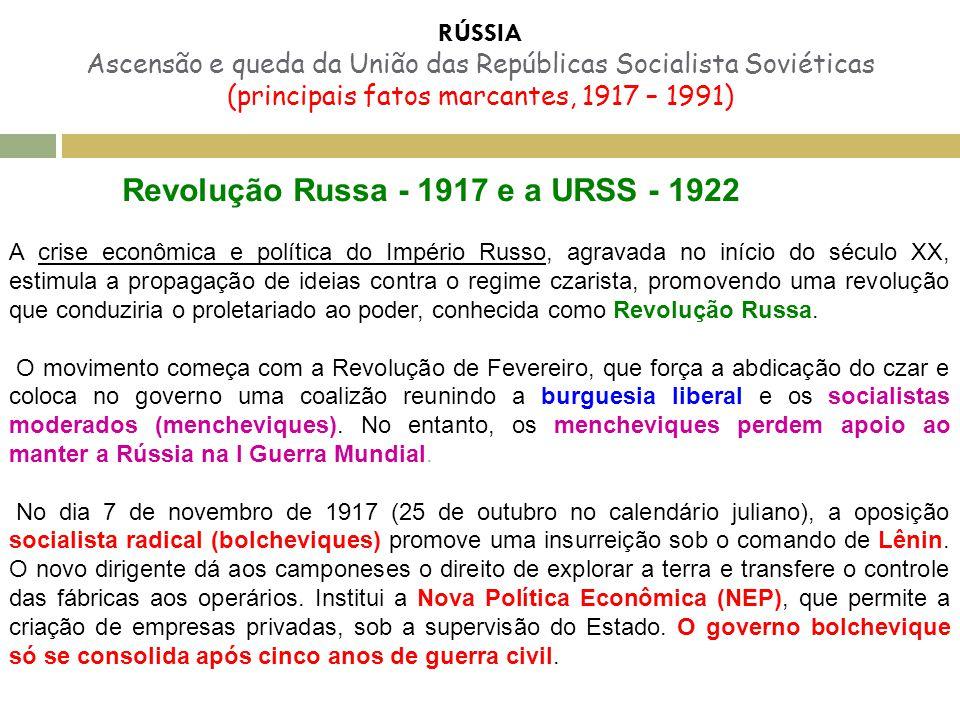 Revolução Russa - 1917 e a URSS - 1922