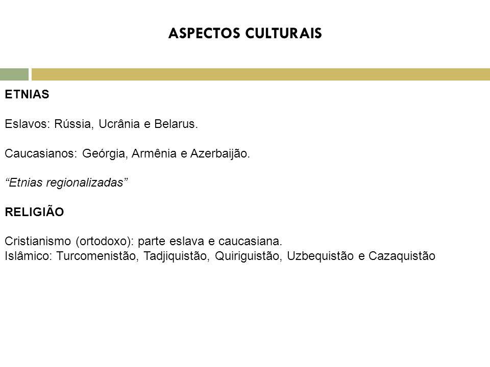ASPECTOS CULTURAIS ETNIAS Eslavos: Rússia, Ucrânia e Belarus.
