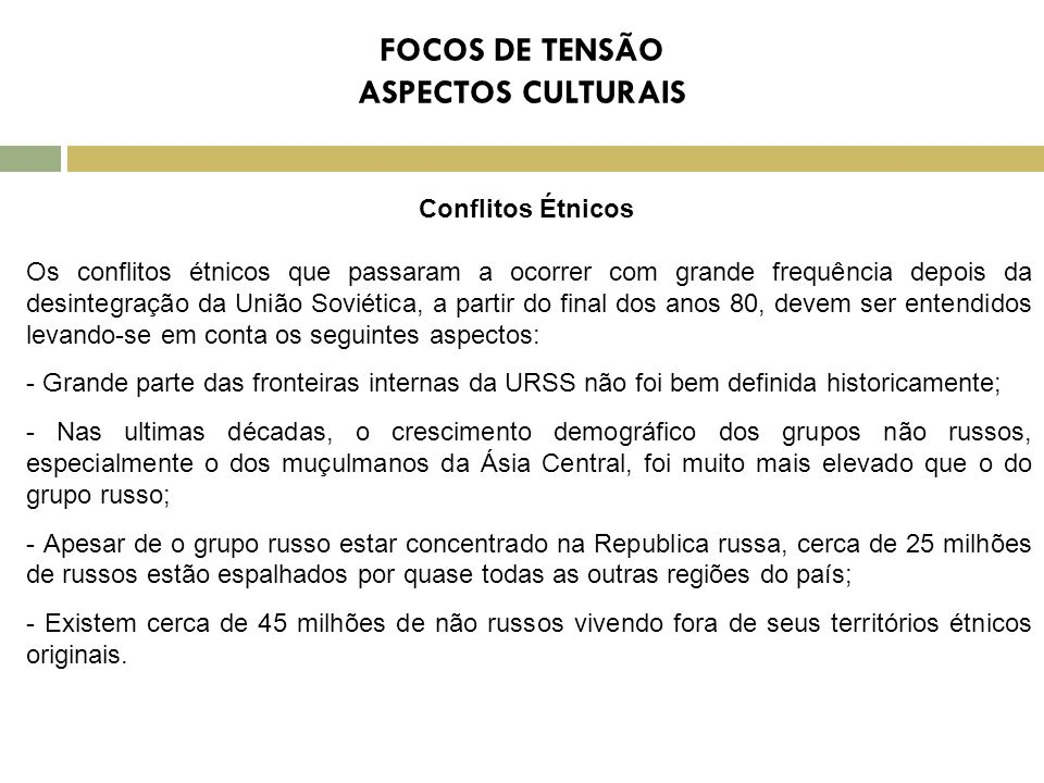 FOCOS DE TENSÃO ASPECTOS CULTURAIS