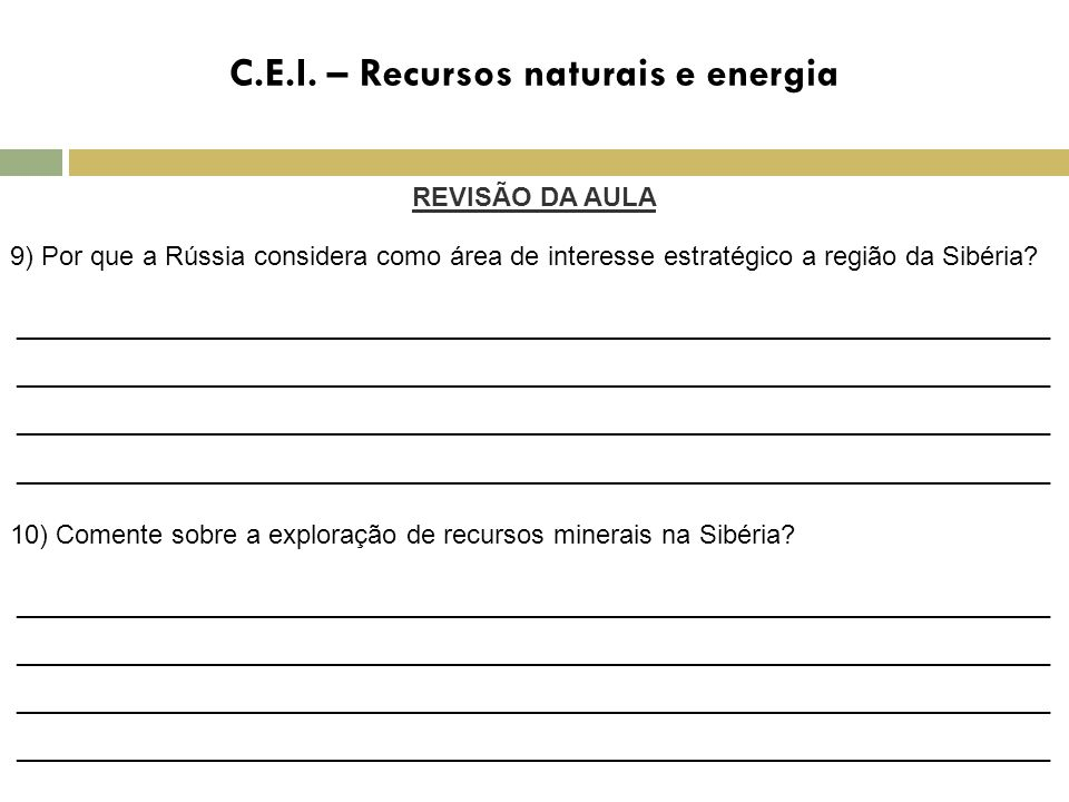 C.E.I. – Recursos naturais e energia
