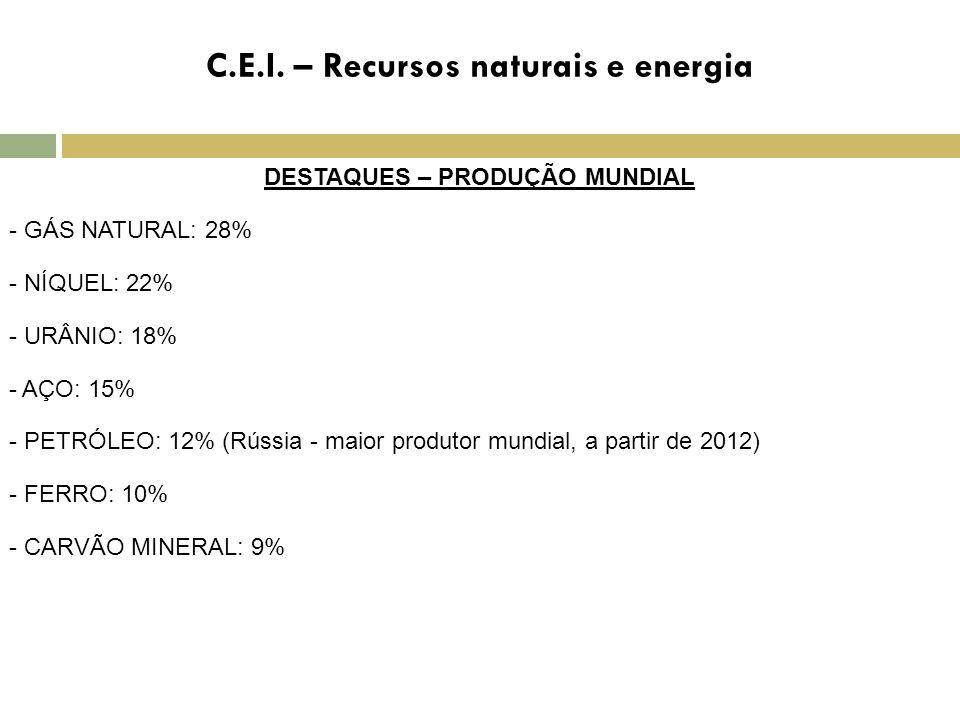C.E.I. – Recursos naturais e energia DESTAQUES – PRODUÇÃO MUNDIAL