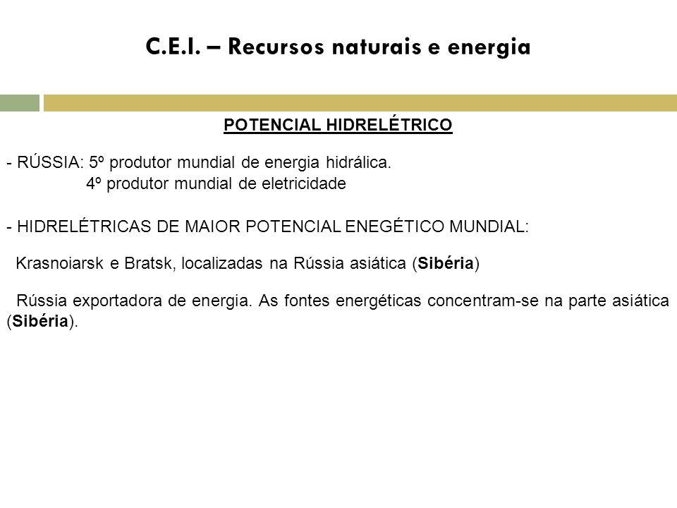 C.E.I. – Recursos naturais e energia POTENCIAL HIDRELÉTRICO