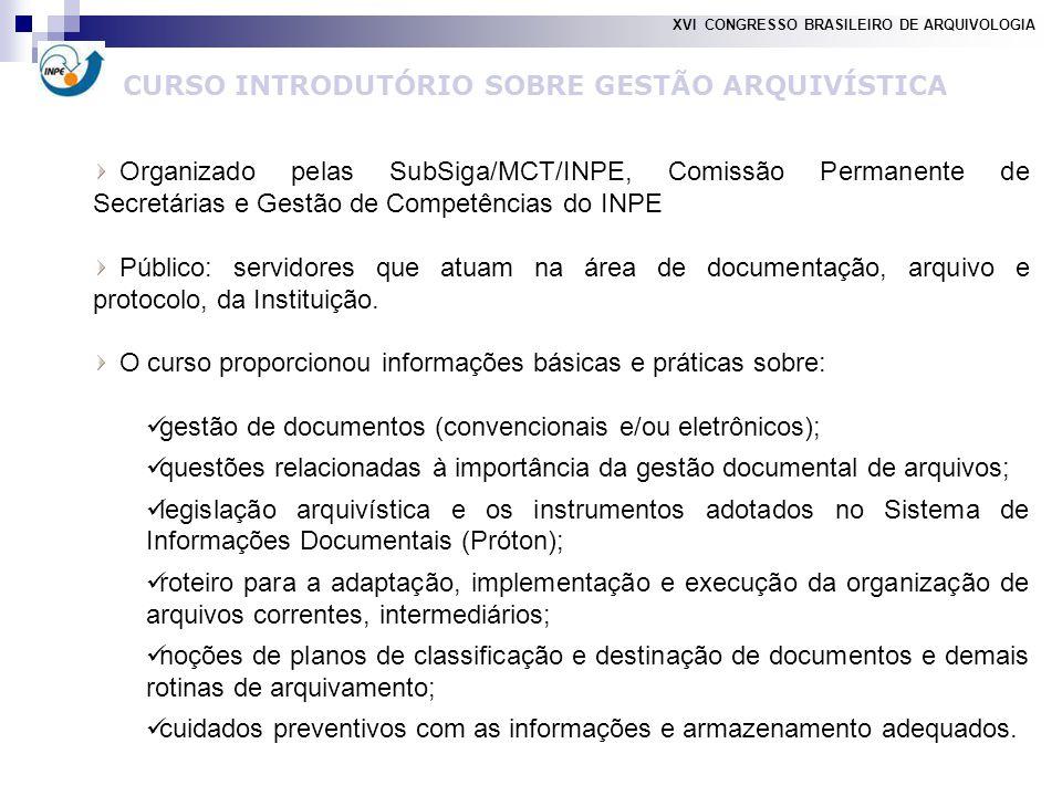 CURSO INTRODUTÓRIO SOBRE GESTÃO ARQUIVÍSTICA