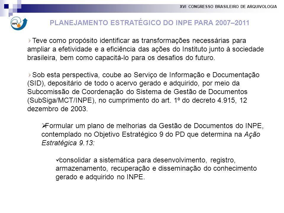 PLANEJAMENTO ESTRATÉGICO DO INPE PARA 2007–2011