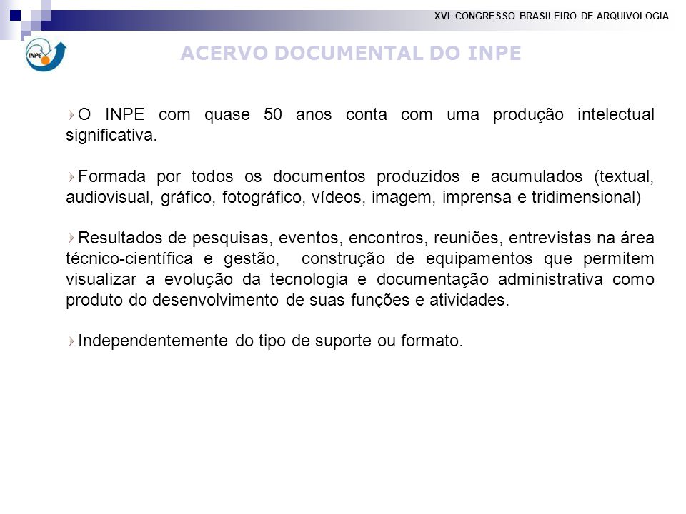 ACERVO DOCUMENTAL DO INPE