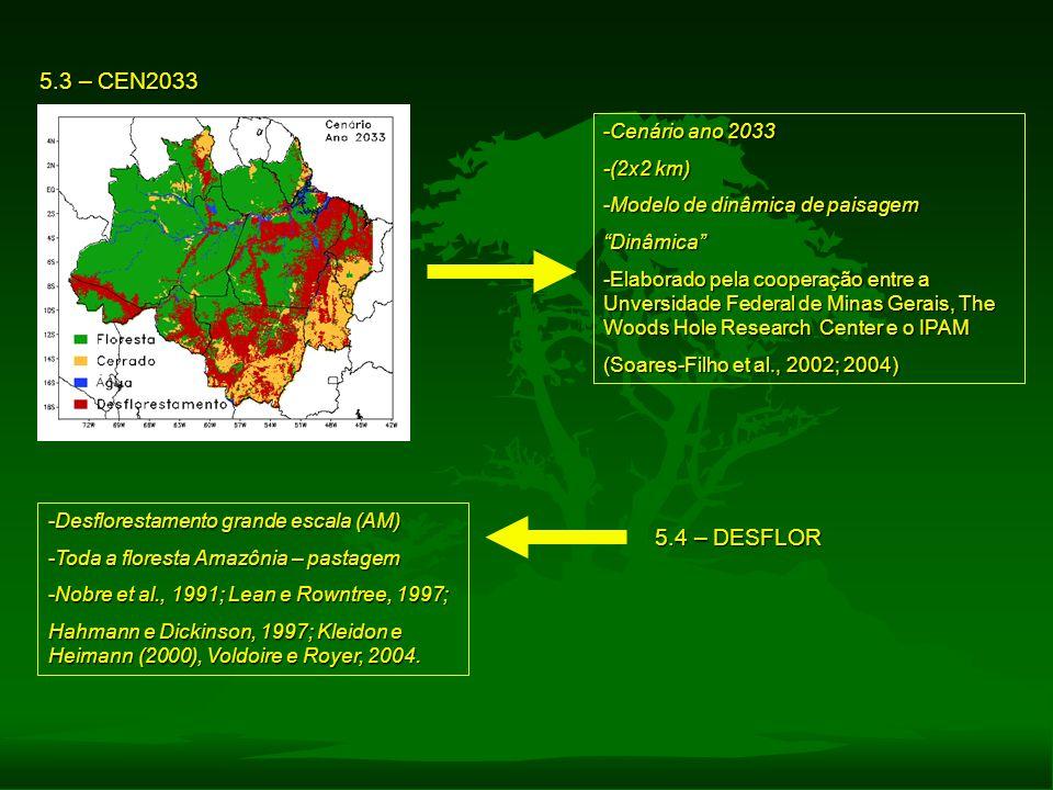 5.3 – CEN2033 5.4 – DESFLOR Cenário ano 2033 -(2x2 km)