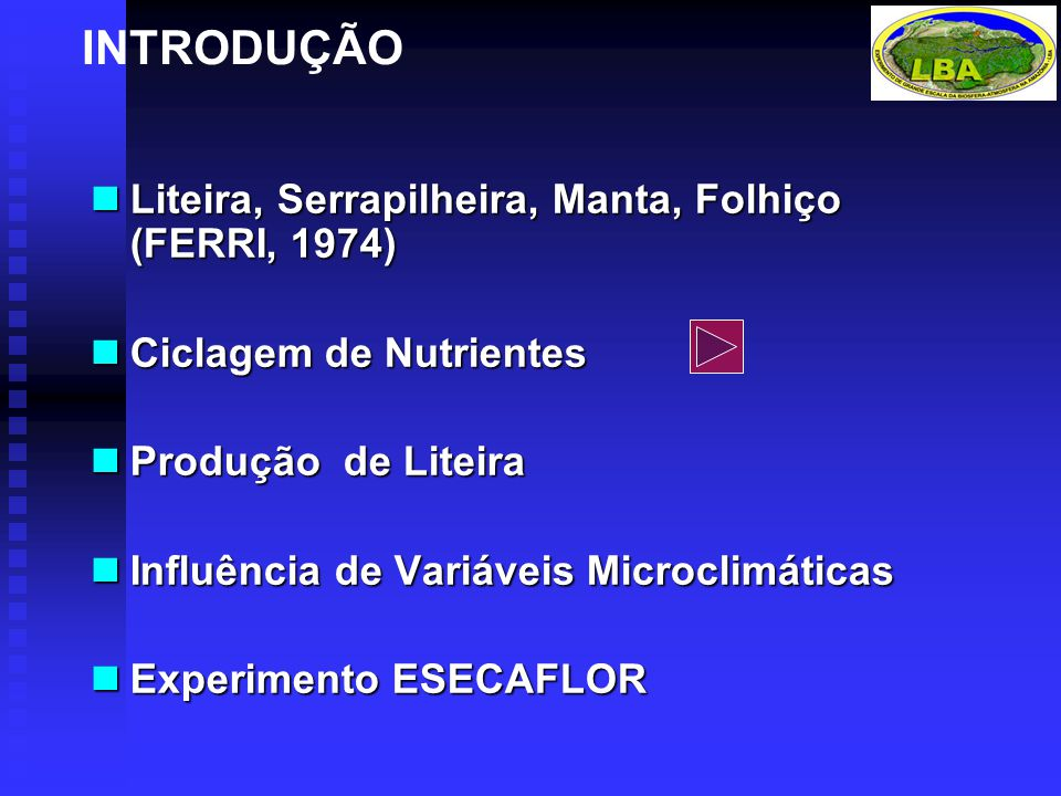 INTRODUÇÃO Liteira, Serrapilheira, Manta, Folhiço (FERRI, 1974)