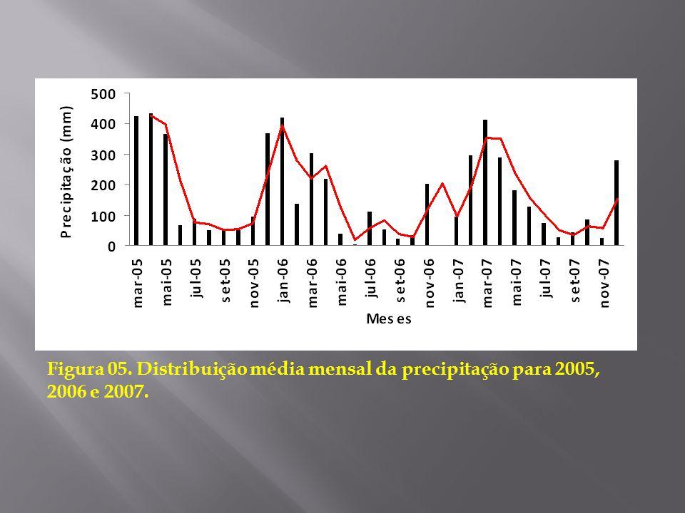 Figura 05. Distribuição média mensal da precipitação para 2005, 2006 e 2007.