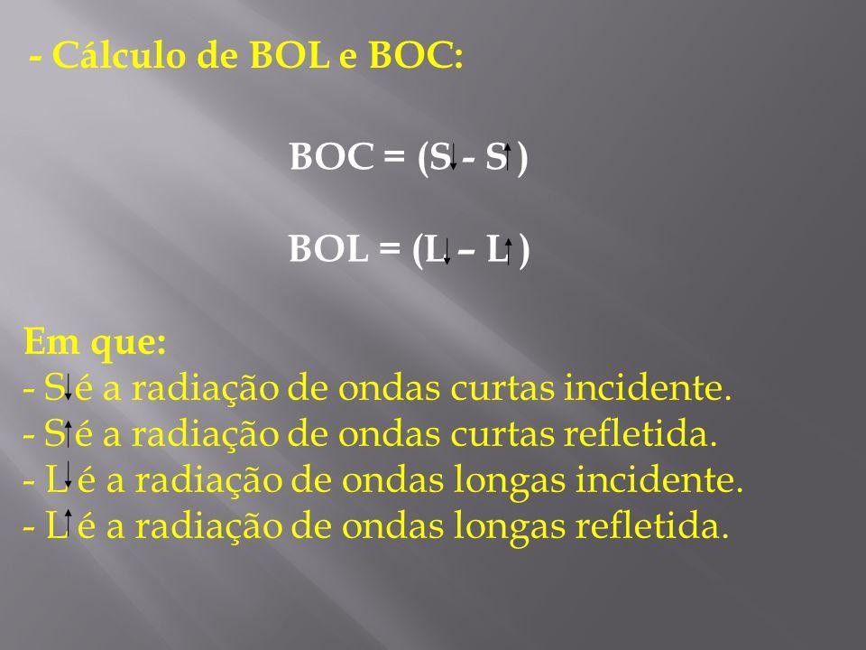 - Cálculo de BOL e BOC: BOC = (S - S ) BOL = (L – L ) Em que: S é a radiação de ondas curtas incidente.