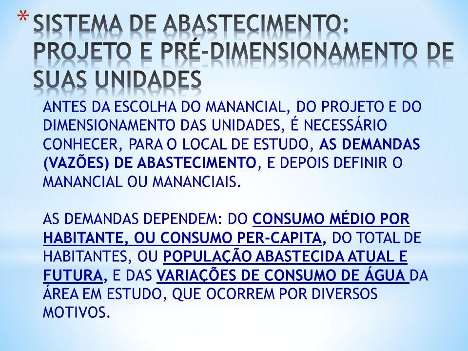 SISTEMA DE ABASTECIMENTO: PROJETO E PRÉ-DIMENSIONAMENTO DE SUAS UNIDADES