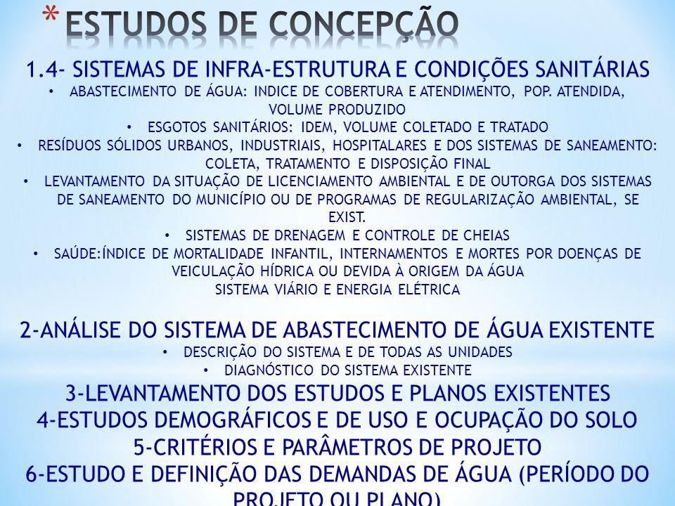 ESTUDOS DE CONCEPÇÃO 1.4- SISTEMAS DE INFRA-ESTRUTURA E CONDIÇÕES SANITÁRIAS.