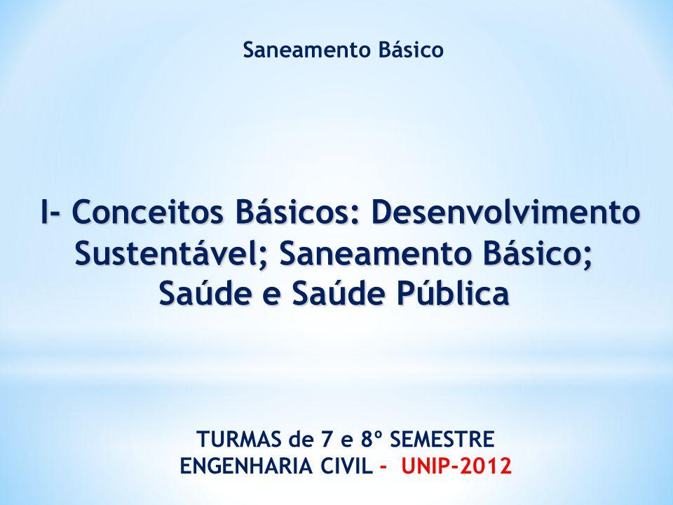 I- Conceitos Básicos: Desenvolvimento Sustentável; Saneamento Básico;