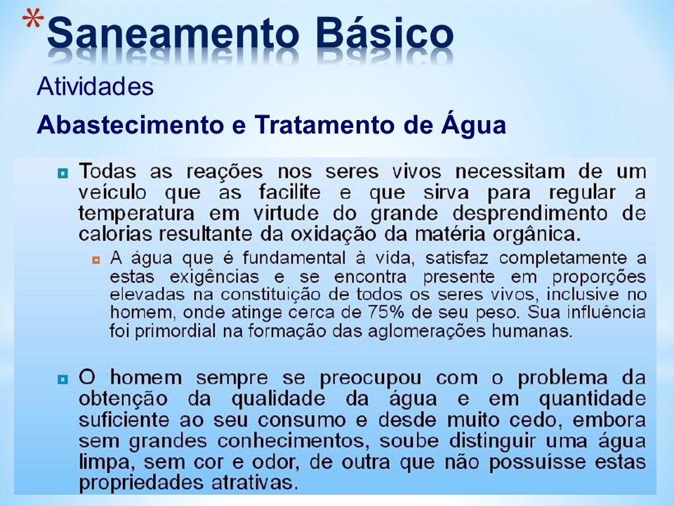 Saneamento Básico Atividades Abastecimento e Tratamento de Água