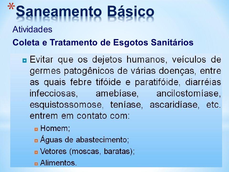 Saneamento Básico Atividades Coleta e Tratamento de Esgotos Sanitários