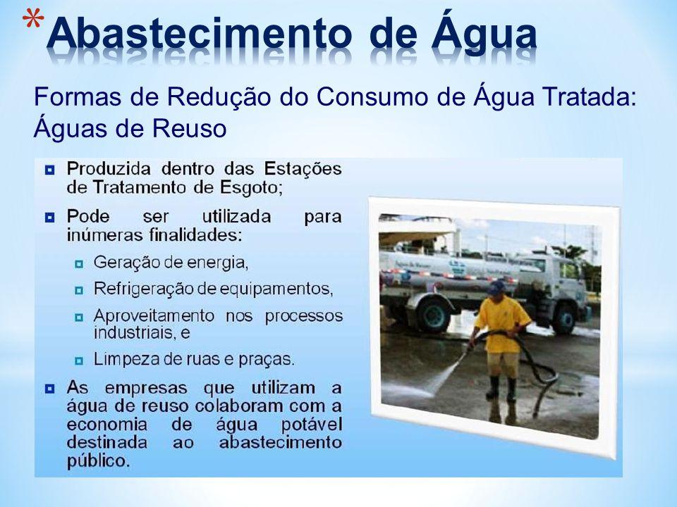 Abastecimento de Água Formas de Redução do Consumo de Água Tratada: Águas de Reuso