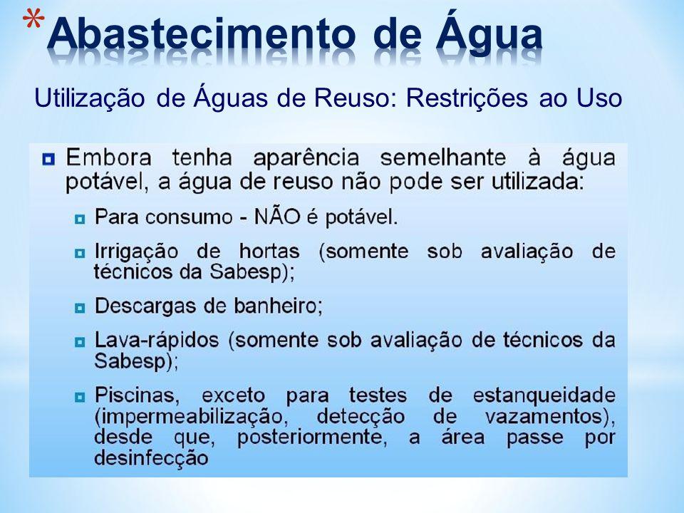 Abastecimento de Água Utilização de Águas de Reuso: Restrições ao Uso