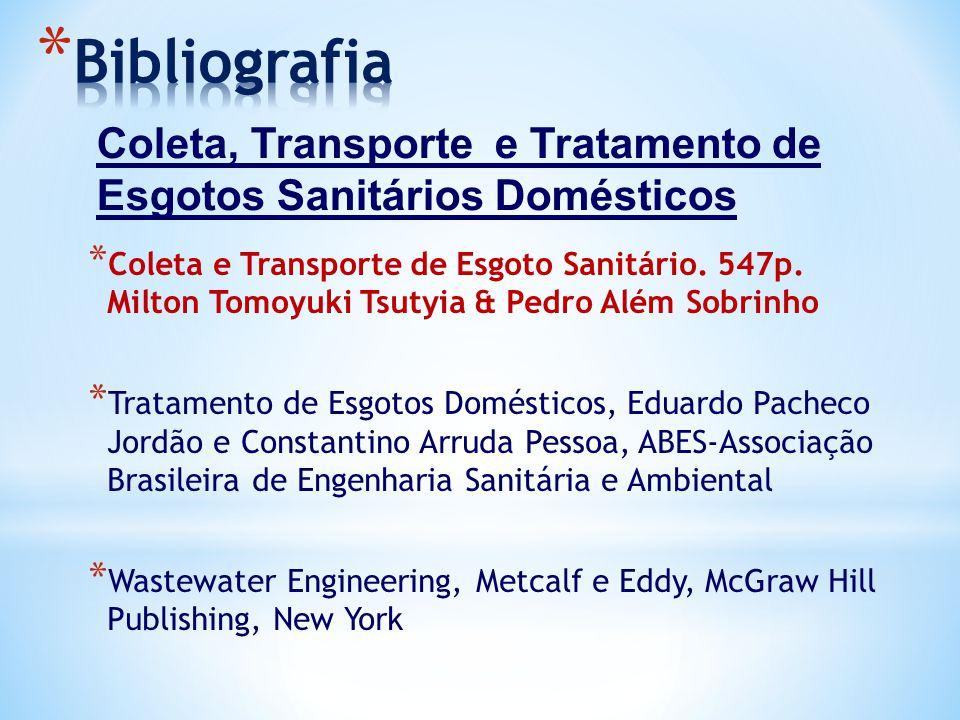 Bibliografia Coleta, Transporte e Tratamento de Esgotos Sanitários Domésticos.