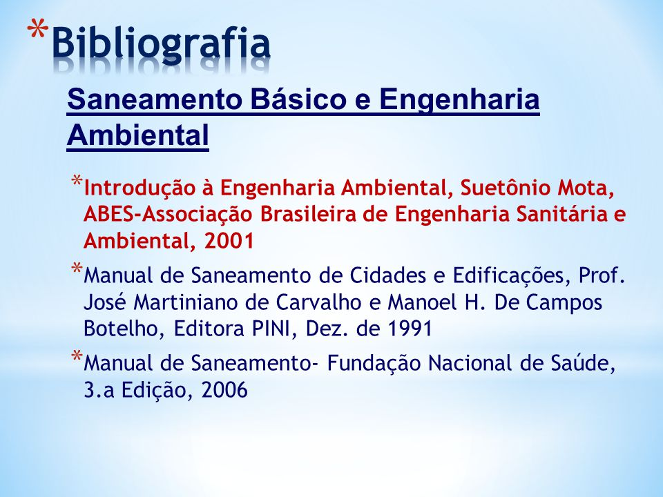 Bibliografia Saneamento Básico e Engenharia Ambiental