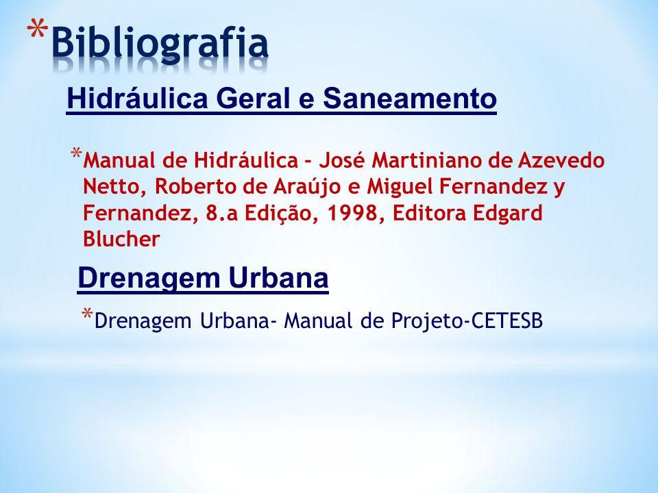 Bibliografia Hidráulica Geral e Saneamento Drenagem Urbana