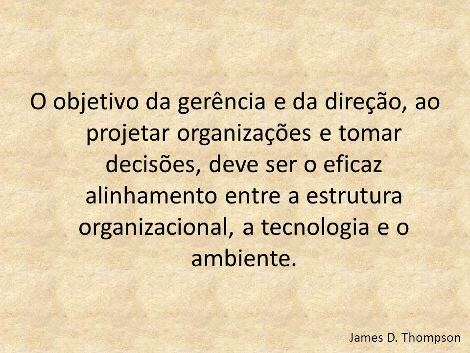 O objetivo da gerência e da direção, ao projetar organizações e tomar decisões, deve ser o eficaz alinhamento entre a estrutura organizacional, a tecnologia e o ambiente.