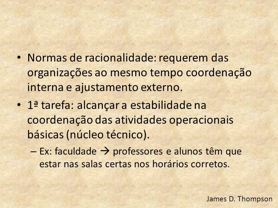 Normas de racionalidade: requerem das organizações ao mesmo tempo coordenação interna e ajustamento externo.