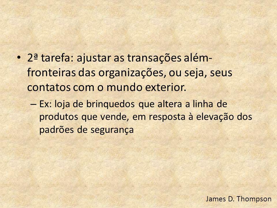 2ª tarefa: ajustar as transações além-fronteiras das organizações, ou seja, seus contatos com o mundo exterior.