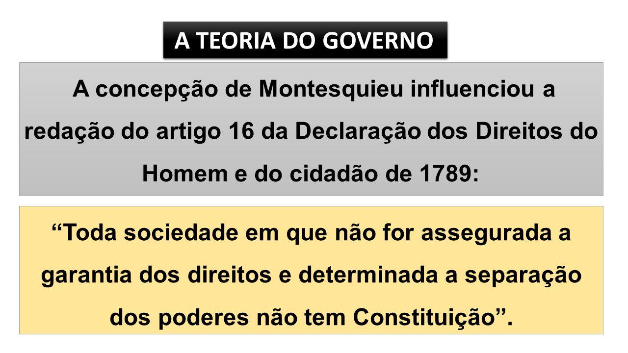 A TEORIA DO GOVERNO A concepção de Montesquieu influenciou a redação do artigo 16 da Declaração dos Direitos do Homem e do cidadão de 1789: