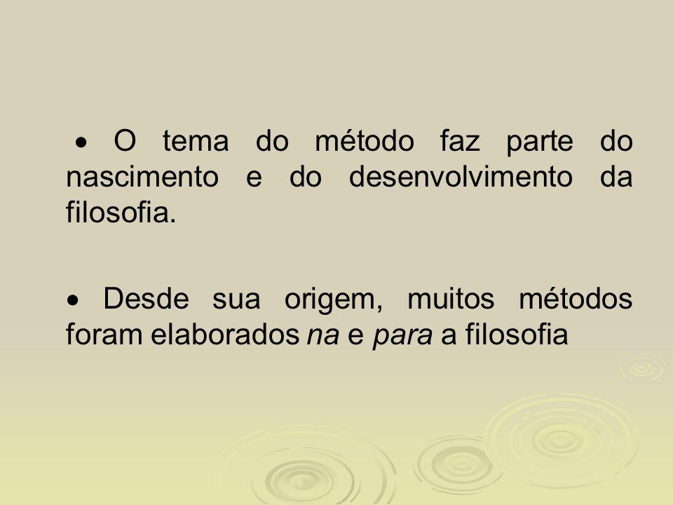  O tema do método faz parte do nascimento e do desenvolvimento da filosofia.