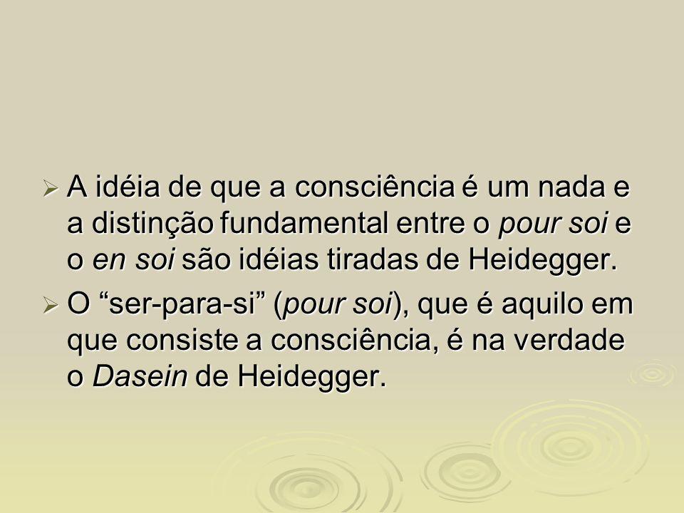 A idéia de que a consciência é um nada e a distinção fundamental entre o pour soi e o en soi são idéias tiradas de Heidegger.