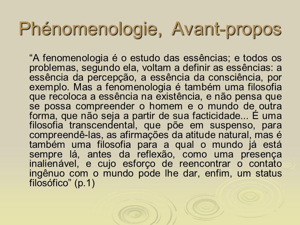 Phénomenologie, Avant-propos